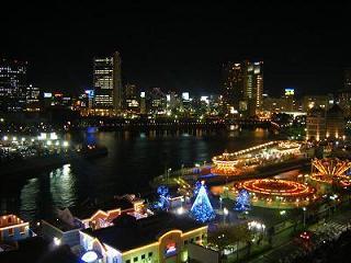 横浜ベイホテル東急 バルコニーからの夜景(コスモワールド2)