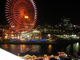 横浜ベイホテル東急 バルコニーからの夜景(観覧車)